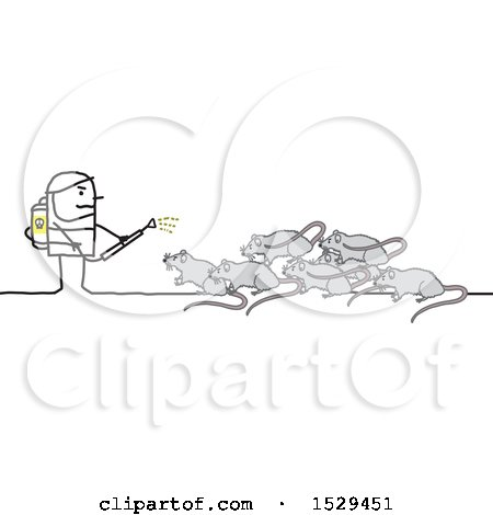 Clipart of a Stick Man Exterminator Battling Rats - Royalty Free Vector Illustration by NL shop
