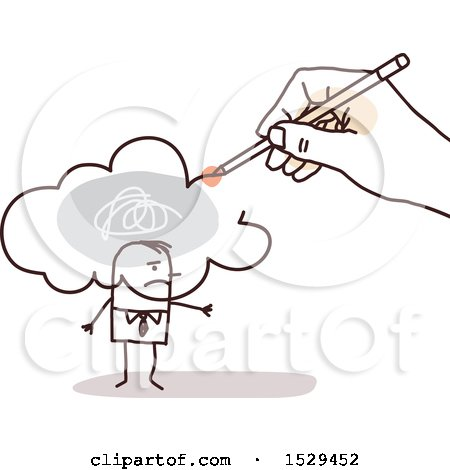 Clipart of a Hand Sketching a Pollution Cloud over a Stick Business Man - Royalty Free Vector Illustration by NL shop