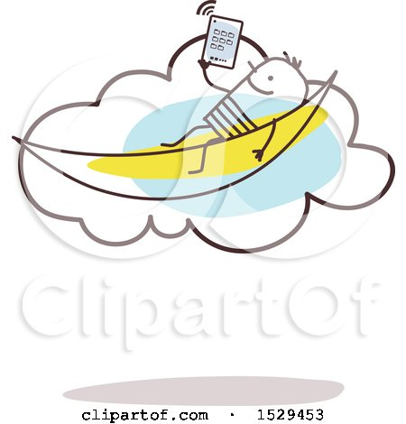 Clipart of a Relaxed Stick Man Reading an E Book in a Hammock on the Cloud - Royalty Free Vector Illustration by NL shop