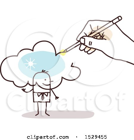 Clipart of a Hand Sketching a Cloud over a Stick Business Man - Royalty Free Vector Illustration by NL shop