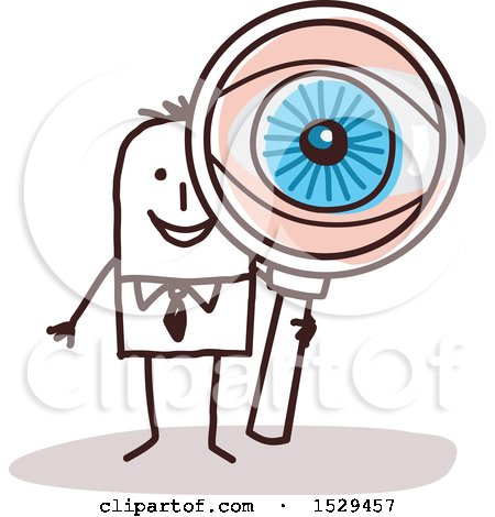 Clipart of a Stick Business Man Looking Through a Magnifying Glass, with a Big Eye - Royalty Free Vector Illustration by NL shop
