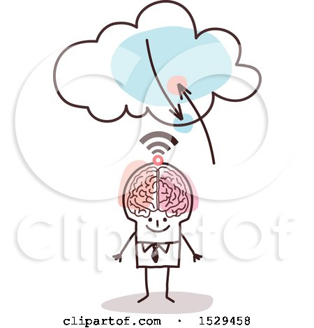 Clipart of a Stick Business Man with a Brain and Signals to the Cloud - Royalty Free Vector Illustration by NL shop