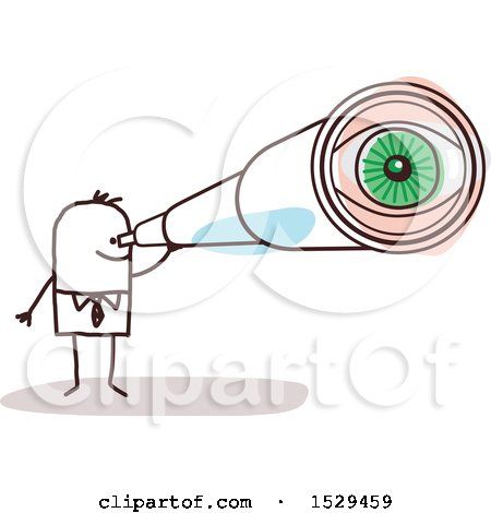 Clipart of a Stick Business Man Looking Through a Telescope - Royalty Free Vector Illustration by NL shop