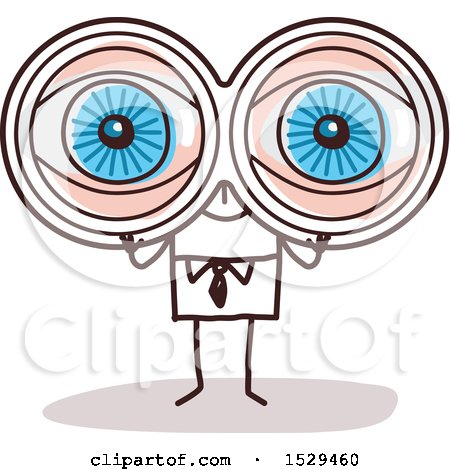Clipart of a Stick Business Man Viewing Through Binoculars - Royalty Free Vector Illustration by NL shop
