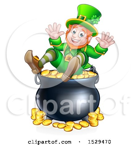 Clipart of a St Patricks Day Leprechaun Sitting on Top of a Pot of Gold - Royalty Free Vector Illustration by AtStockIllustration