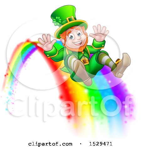 Clipart of a St Patricks Day Leprechaun Riding a Rainbow - Royalty Free Vector Illustration by AtStockIllustration