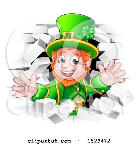 Clipart of a St Patricks Day Leprechaun Breaking Through White Brick Wall - Royalty Free Vector Illustration by AtStockIllustration