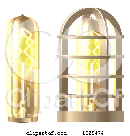 Clipart of a 3d Vintage Steampunk Electric Light Bulb and Lamp - Royalty Free Vector Illustration by AtStockIllustration