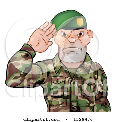 Clipart of a Tough Male Soldier Saluting and Wearing a Green Beret - Royalty Free Vector Illustration by AtStockIllustration