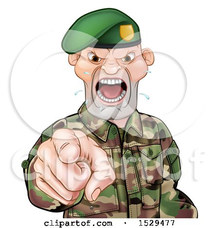 Clipart of a Tough Male Soldier Wearing a Green Beret, Shouting and Pointing Outwards - Royalty Free Vector Illustration by AtStockIllustration