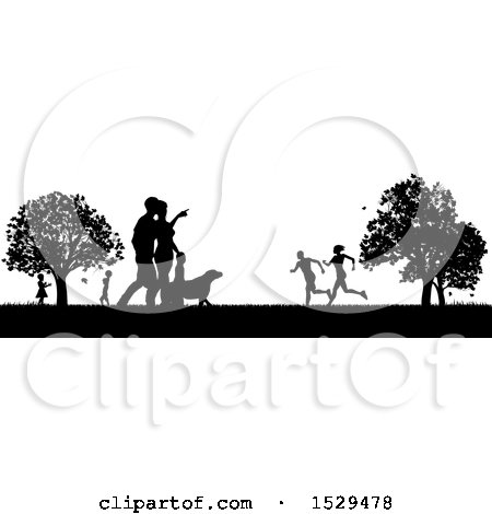 Clipart of a Black and White Silhouetted Park with a Dog and People, Grassy Field, and Trees - Royalty Free Vector Illustration by AtStockIllustration
