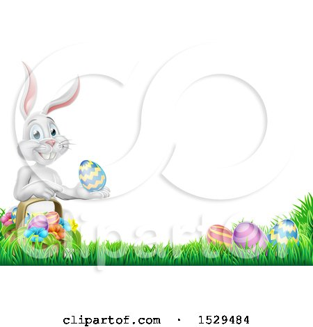 Clipart of a Border of a White Easter Bunny Rabbit Holding an Egg by a Basket in the Grass - Royalty Free Vector Illustration by AtStockIllustration