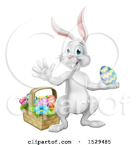 Clipart of a White Easter Bunny Rabbit Holding an Egg by a Basket - Royalty Free Vector Illustration by AtStockIllustration