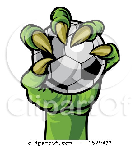 Clipart of a Green Monster Claw Holding a Soccer Ball - Royalty Free Vector Illustration by AtStockIllustration