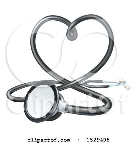 Clipart of a 3d Medical Stethoscope Forming a Love Heart - Royalty Free Vector Illustration by AtStockIllustration