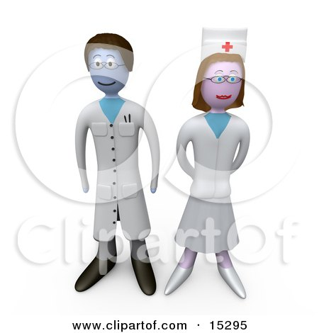 Proud Female Nurse Standing Beside A Doctor In A Hospital  Posters, Art Prints