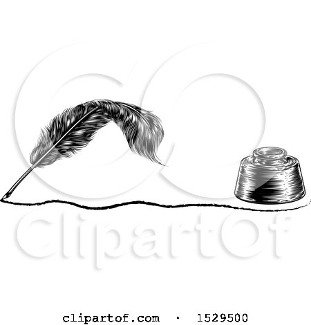 Clipart of a Writing Feather Quill Pen with a Line and Ink Well - Royalty Free Vector Illustration by AtStockIllustration