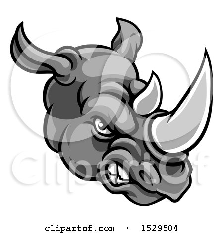Clipart of a Grayscale Tough Rhinoceros Sports Mascot Head - Royalty Free Vector Illustration by AtStockIllustration