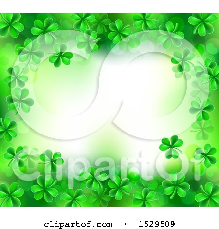 Clipart of a St Patricks Day Background with Green Shamrocks and Text Space - Royalty Free Vector Illustration by AtStockIllustration