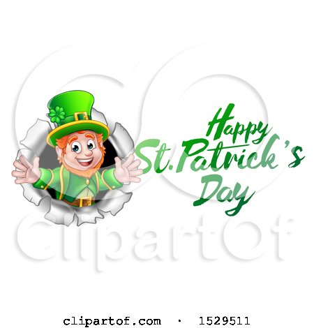Clipart of a Happy St Patricks Day Greeting by a Leprechaun Breaking Through a Wall - Royalty Free Vector Illustration by AtStockIllustration