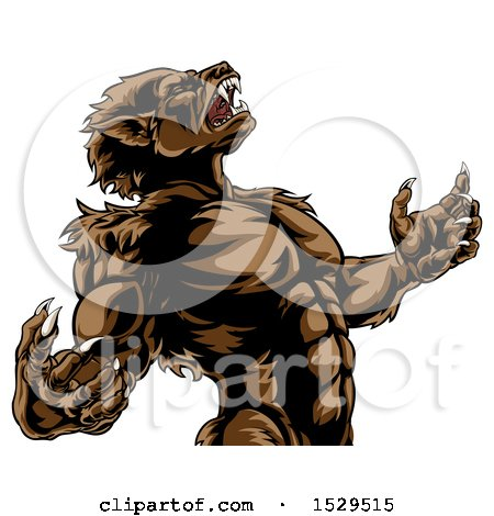 Clipart of a Werewolf Beast Howling and Transforming - Royalty Free Vector Illustration by AtStockIllustration