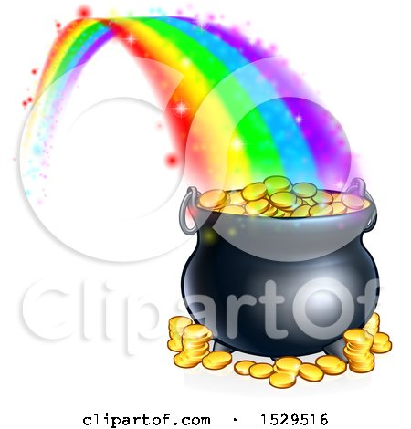 Clipart of a St Patricks Day Rainbow Ending at a Leprechauns Pot of Gold - Royalty Free Vector Illustration by AtStockIllustration