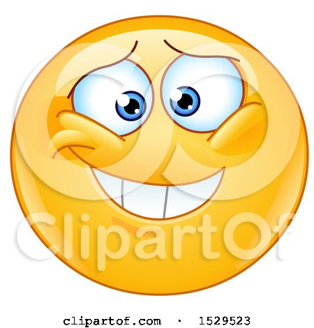 Clipart of a Yellow Smiley Emoji with an Embarassed Grin - Royalty Free Vector Illustration by yayayoyo