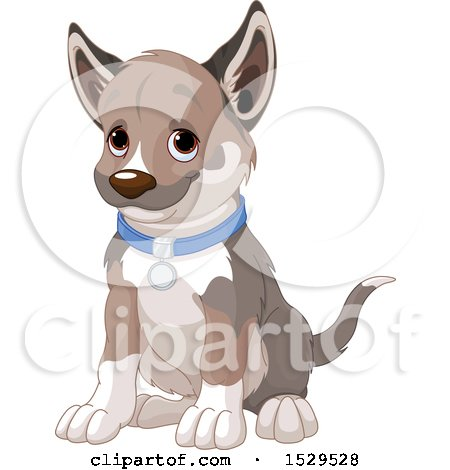 Clipart of a Cute Puppy Dog Sitting - Royalty Free Vector Illustration by Pushkin