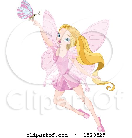 Clipart of a Pink Fairy with Long Blond Hair and a Butterfly - Royalty Free Vector Illustration by Pushkin