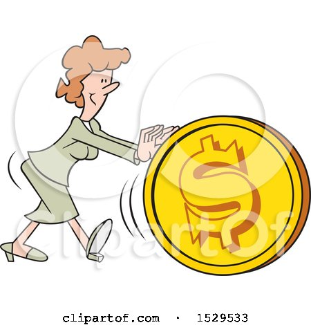 Clipart of a Cartoon White Business Woman Getting the Ball Rolling, Pushing a Dollar Coin Ball - Royalty Free Vector Illustration by Johnny Sajem