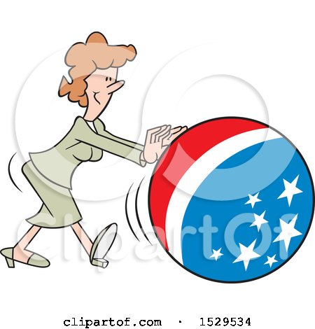 Clipart of a Cartoon White Business Woman Getting the Ball Rolling, with an American Theme - Royalty Free Vector Illustration by Johnny Sajem