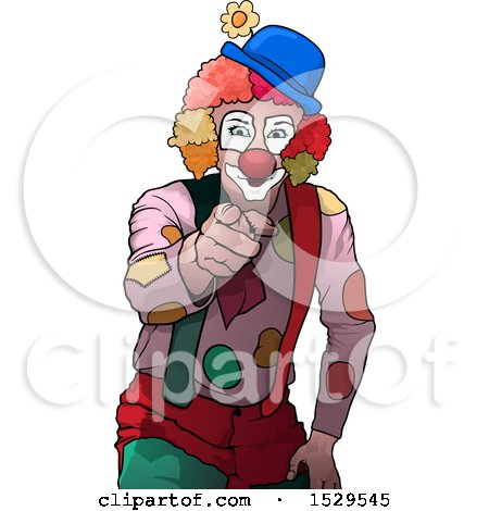 Clipart of a Clown Pointing Outwards - Royalty Free Vector Illustration by dero