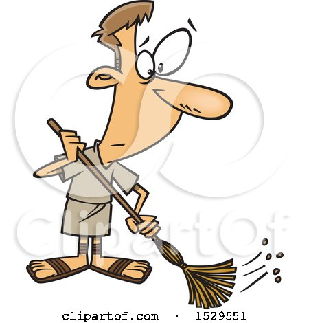 Clipart of a Cartoon Male Roman Slave Sweeping - Royalty Free Vector Illustration by toonaday
