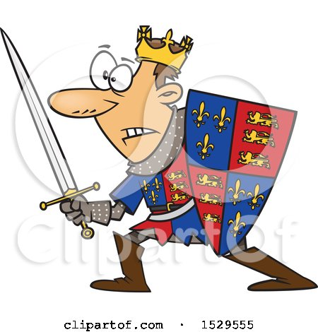 Clipart of a Cartoon Man, Henry V, in Battle - Royalty Free Vector Illustration by toonaday