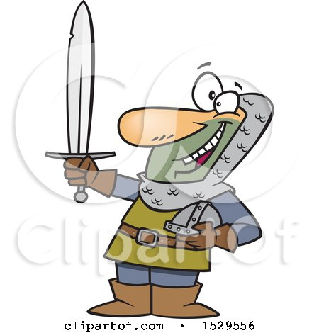 Clipart of a Cartoon Male Castle Guard Holding a Sword - Royalty Free Vector Illustration by toonaday