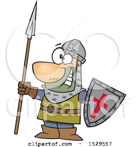 Clipart of a Cartoon Male Castle Guard Holding a Spear and Shield - Royalty Free Vector Illustration by toonaday