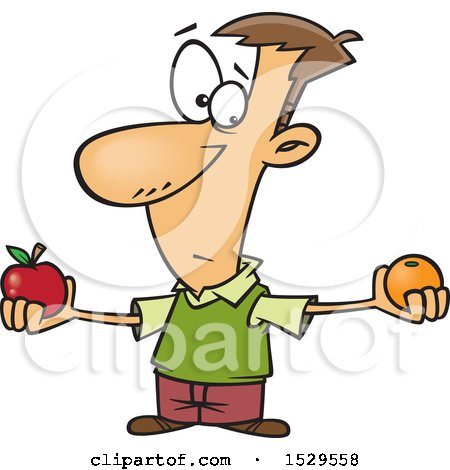 Clipart of a Cartoon Caucasian Man Comparing Apples and Oranges - Royalty Free Vector Illustration by toonaday