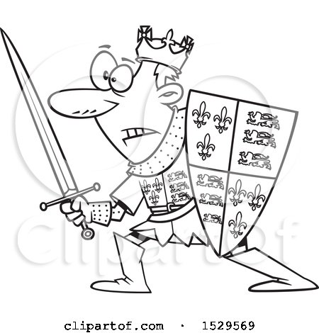 Clipart of a Cartoon Black and White Man, Henry V, in Battle - Royalty Free Vector Illustration by toonaday