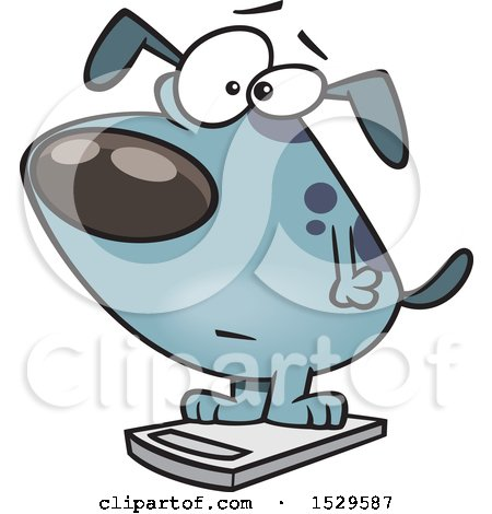 Clipart of a Cartoon Obese Dog on a Scale - Royalty Free Vector Illustration by toonaday