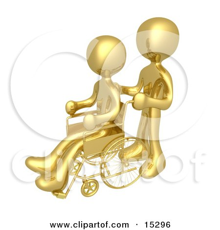 Gold Person Pushing Another Person In A Wheelchair In A Hospital  Posters, Art Prints