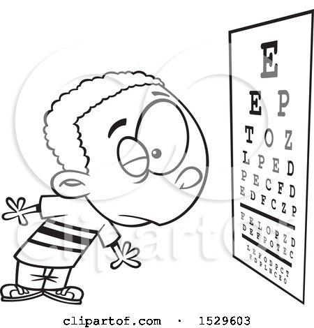Clipart Of A Cartoon Lineart Boy Reading An Eye Chart During An Exam