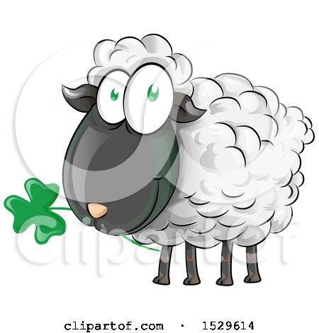 Clipart of a Happy Irish Sheep Eating a Clover Shamrock - Royalty Free Vector Illustration by Domenico Condello