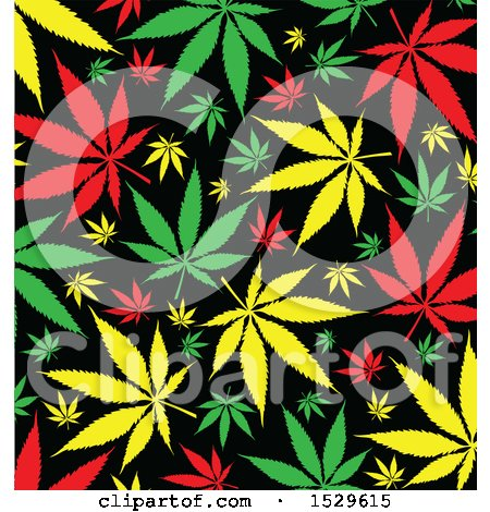 Clipart of a Jamaican Rasta Marijuana Pot Leaf Background - Royalty Free Vector Illustration by Domenico Condello