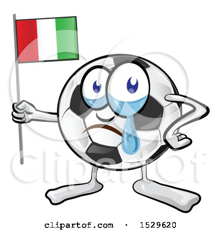Clipart of a Crying Soccer Ball Mascot Holding an Italian Flag - Royalty Free Vector Illustration by Domenico Condello