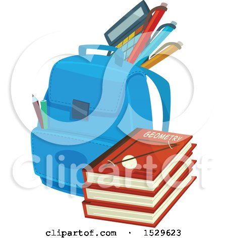 Clipart of a School Design with a Backpack and Books - Royalty Free Vector Illustration by Vector Tradition SM