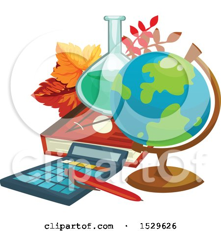 Clipart of a School Design with a Desk Globe, Science Flask, Book, Leaves and Calculator - Royalty Free Vector Illustration by Vector Tradition SM