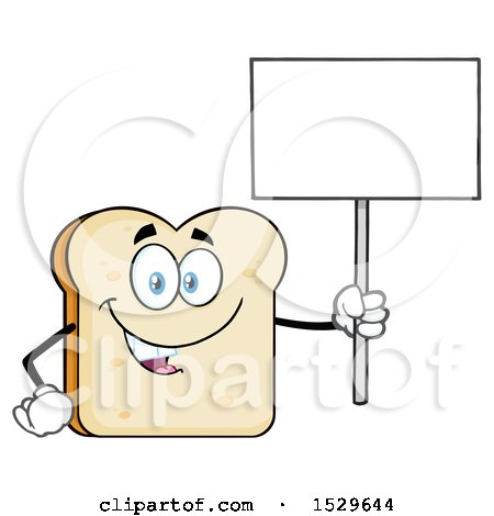 Clipart of a Sliced Bread Mascot Character Holding up a Blank Sign - Royalty Free Vector Illustration by Hit Toon
