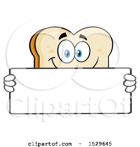 Clipart of a Sliced Bread Mascot Character Holding a Blank Sign - Royalty Free Vector Illustration by Hit Toon