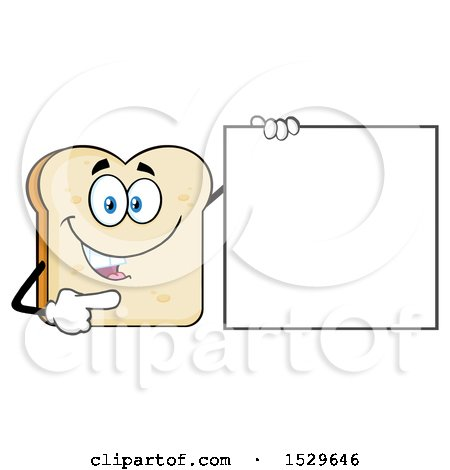 Clipart of a Sliced Bread Mascot Character Pointing to a Blank Sign - Royalty Free Vector Illustration by Hit Toon