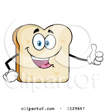 Clipart of a Sliced Bread Mascot Character Giving a Thumb up - Royalty Free Vector Illustration by Hit Toon